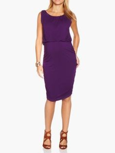 Ruched Boat-Neck Maternity Dress