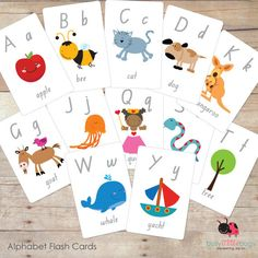 Printable Alphabet Flash Cards by BUSYLITTLEBUGSshop on Etsy