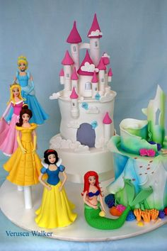 Princess Cake Theme by ~Verusca on deviantART. Fondant and sugar figurines. Don't know any bakery that can do this kind of work. Could have a castle cake made and then place Disney princess dolls along the side. Princess Theme Birthday, Princess Party, Princess Cakes, Castle Birthday Cakes, Debbie Brown, Disney Princess Castle, Cake Decorating With Fondant, Disney Cakes, Disney Desserts