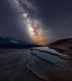 """""""One of the best places on earth to see the milky way is over the salt springs in Sari, Mazandaran Province, Iran.  The Badab-e Surt's springs are two…"""""""