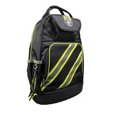 Klein Tools Tradesman Pro 14-3/8 in. High-Visibility Tool Bag Backpack, Black and Gray, Black/Reflective Grey/Green Accents