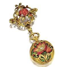 GOLD, ENAMEL AND DIAMOND LAPEL WATCH, CIRCA 1900 The white porcelain dial with blue and gilt Arabic numerals and gilt scroll hands,  within a hinged case decorated with a spray of poppies, the petals applied with rose and yellow translucent enamel, the centers accented with small single-cut diamonds, against a green enamel ground, supported on a gold brooch of scrolling foliage decorated with a similar flower and bud, dial signed Hamilton & Co., Calcutta.