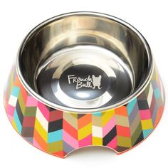 French Bull Stainless Steel and Melamine Ziggy Designer Dog Bowls for Dogs or Cats, Medium ^^ Additional details found at the image link : Cat items Dog Feeding Bowls, Cat Feeding, Stainless Steel Bowl, Dog Store, Best Dog Food, White Dogs, Pet Bowls, Medium Dogs, Dog Supplies