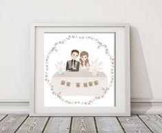 Ilustraciones - Retrato personalizado Boda (A: 30 x 42 cm) - hecho a mano por OneLittlePaper en DaWanda #boda #novia #novio #ionvitadas #invitados #bodasDIY #DaWanda #hechoamano #weddings #manualidades #bodashandmade #handmade