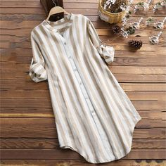 Vertical Striped Stand Collar Long Sleeve Cotton Linen Shirts look not only special, but also they always show ladies' glamour perfectly and bring surprise. Shirt Dress Button Up, Long Sleeve Shirt Dress, Long Sleeve Shirts, Linen Shirt Dress, Tunic Blouse, Tunic Tops, Kurta Designs Women, Camisa Formal, Cotton Blouses