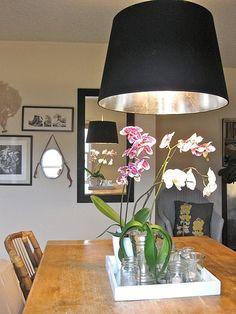 Source: Design Sponge This effect inside ikea lamp for staircase lighting