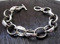Handmade Minimalist Sterling Silver Bracelet for Men and Women (length 7 Silver Bangle Bracelets, Bracelets For Men, Link Bracelets, Silver Necklaces, Silver Earrings, Bracelet Charms, Earrings Uk, Ankle Bracelets, Gemstone Earrings