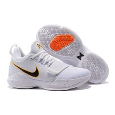 Men's Nike PG 1 id White and Black Basketball Shoes Nike PG Paul