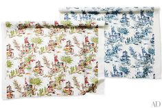 Offered in a lively multicolor and a blue version, Clarence House's linen-cotton Zang fabric gives 18th-century chinoiserie toile de Jouy a fresh sensibility; to the trade. clarencehouse.com, 800-803-2850
