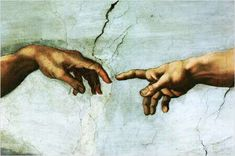 Creation of Adam- Michelangelo He applied his faith, he depicted God as powerful, muscular and full of vitality. The image of God's hand reaching out to Adam speaks as powerfully today as it did 500 yrs. ago.