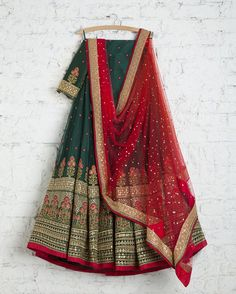 SwatiManish Lehengas SMF LEH 198 17 Forest green heavy daman lehenga with red badla dupatta and matching blouse Pakistani Lehenga, Indian Salwar Kameez, Lehenga Choli, Patiala, Churidar, Sarees, Anarkali, Indian Bridal Outfits, Indian Designer Outfits