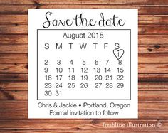 Calendar Save the Date Stamp, Custom Wedding Stamp, Custom Save The Date Stamp, Save the Date, Personalized, Wedding Invitation
