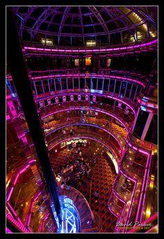 Carnival Ecstasy Grand Atrium... Sails to Bahamas, free port, Nassau and Half Moon Kay.
