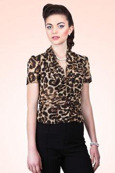Collectif Clothing 40s Greta Leopard Chiffon Blouse 12538VW