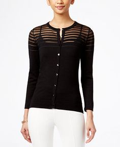 August Silk Illusion-Striped Cardigan - Sweaters - Women - Macy's