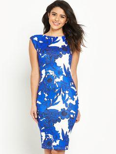 AX Paris Print Cap Sleeve Midi Dress   very.co.uk