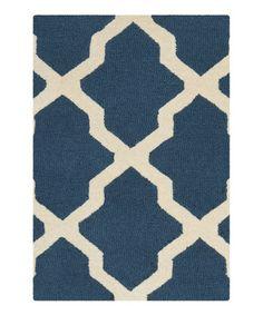 Navy Delray Wool Rug #zulily #zulilyfinds $49.99