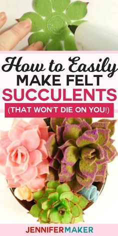 Felt Succulents: Easy to Make and Won't Die On You! Paper Succulents, Paper Flowers Diy, Flower Crafts, Fabric Flowers, Felt Diy, Felt Crafts, Felt Flower Template, Felt Flowers Patterns, Wooly Bully