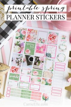 These printable spring planner stickers are so pretty! Print them out and use them to decorate your planner or make a functional design pretty! Free Planner, Planner Pages, Happy Planner, Planner Ideas, Summer Planner, Planner Supplies, Printable Planner Stickers, Free Printables, Journal Stickers