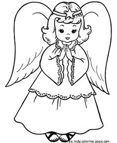 christmas angels coloring page print out for kids