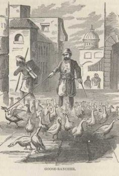 """A goose seller in old Constantinople. Picture taken from """"The innocents Abroad"""""""