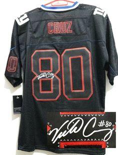 b1a6b1f54 Nike Giants 80 Victor Cruz Black Team Color Men s Embroidered NFL Elite  Autographed Jersey