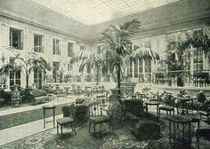 """The Palm Court of the Carlton hotel in captioned in The Illustrated London News as """"A Fashionable Resort of Today"""" Victorian London, Vintage London, Victorian Era, Paris Bars, Kentia Palm, Indoor Palms, Victoria Reign, Carlton Hotel, Art Deco"""