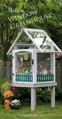 DIY mini greenhouse made from repurposed house windows - free instructions. If you ever remove old windows from your house or see some free on the roadside, grab them!