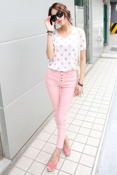 Wish they matched a bit better and the jeans didn't go up so high. Korean Fashion Online, Korea Fashion, All Fashion, Asian Fashion, Spring Fashion, Fashion Outfits, Womens Fashion, Style Casual, Casual Outfits