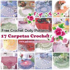 Crochet y Dos agujas: 17 Patrones de Carpetas Crochet / Free Crochet Doi...