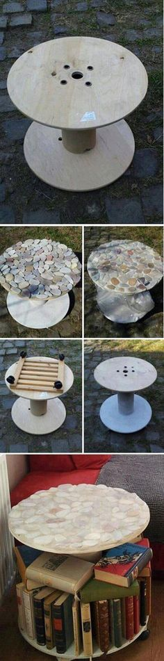 Reuse cable reels / spools. Beautiful stone cobble mosaic table for the home or garden.