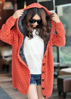 Polka Orange Wool Hooded Cardigan