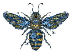 The Bee's Knees drawing flower heart wings creature instect pattern character bee texture digital painting illustration Symbol Tattoos, Botanisches Tattoo, Body Art Tattoos, Tatoos, Mujeres Tattoo, Bee Illustration, I Love Bees, Insect Art, Bee Art