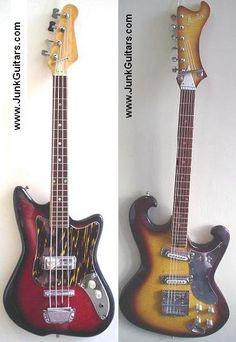 Left: 1960s Kawai shortscale bass  Right: 1968 Avalon Shaggs model