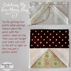 Tip for getting nice points on your block from our Block of the Month Sew Along Day. Sew Sweet Simplicity Free Block of the Month.