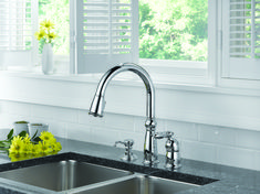 So shiny and new! Upgrade with this sleek and silver #faucet design by #Delta.