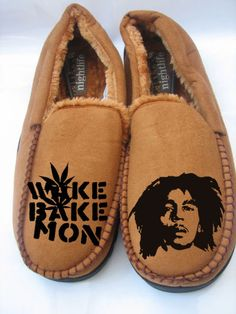 bob marley Mens drake ganja slippers i love by CUSTOMCLOTHINGART, £16.00