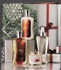Bath and Body Works advertising scents to use during winter time. We know this because of the pines in the background symbolizing winter/Christmas.