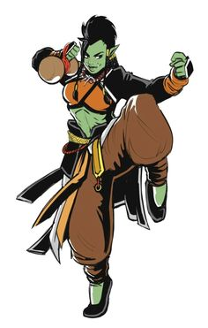 Female Half-Orc Monk - Pathfinder PFRPG DND D&D 3.5 5th ed d20 fantasy