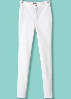 White High Waist Elastic Slim Pant pictures