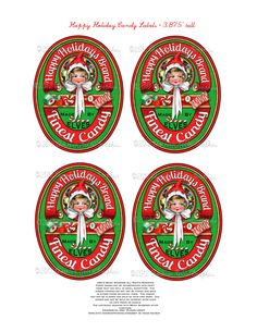 Christmas Vintage Candy Label Tag Printable Happy Holidays