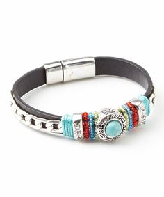 Look what I found on #zulily! Silver & Turquoise Beaded Leather Bracelet #zulilyfinds