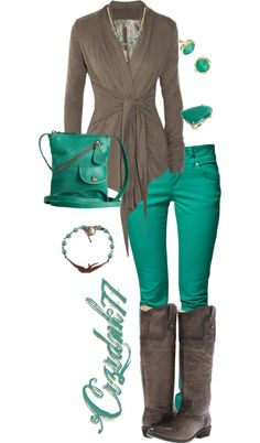 """Brown and Teal"" by crzrdnk77 on Polyvore"