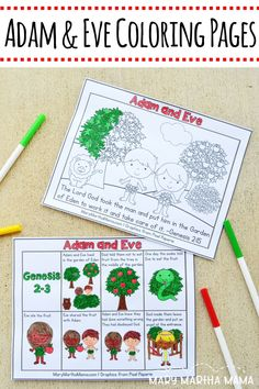 These fun Adam and Eve coloring pages help preschool and early elementary children learn the story of Adam and Eve from the Bible.