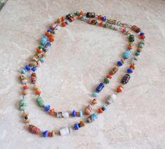 "Glass Beaded Necklace Multi Color Art Glass 20"" Vintage V0323"