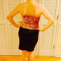 Vintage Saks Gold Sequin Tube Top 55% acetate/45% acrylic. Saks Fifth Avenue Tops Tank Tops