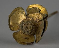 Cambodia |  Ornament (perhaps a hairpin) in the Shape of a Lotus Flower. ca. 12th century. Cambodia. Bronze with traces of gilding