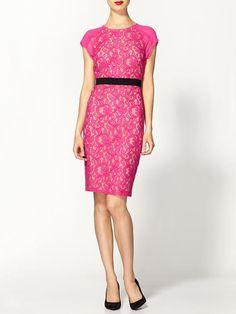bcbg pink lace dress