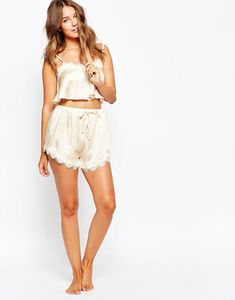Lavish Alice Champagne Pyjama Shorts and Crop Pyjama Top