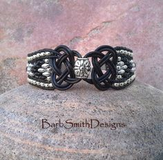 Black Leather Beaded Cuff Bracelet 3-Row  The by BarbSmithDesigns